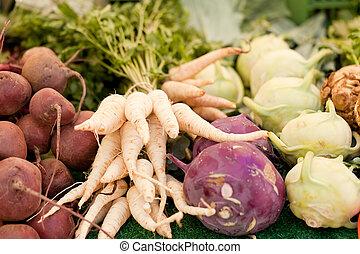 양파, 감자, 당근, 비트, 야채, 신선한, 뿌리, 시장