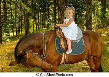 어린 소녀, 구, a, 말, 에서, 그만큼, 숲