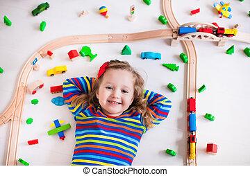 어린 소녀, 노는 것, 와, 멍청한, 기차