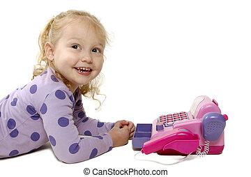 어린 소녀, 노는 것, 와, 장난감