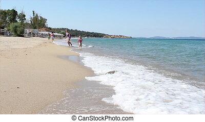 어린 소녀, 달리기, 통하고 있는, 바닷가