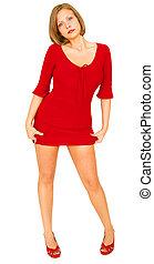 어린 소녀, 보유, 그녀, 빨간 드레스