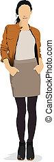 어린 소녀, 에서, 갈색의, jacket., 착색되는