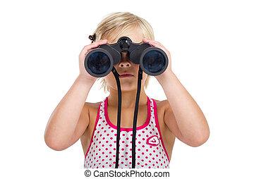 어린 소녀, 와, 쌍안경