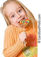 어린 소녀, 와, a, 사탕