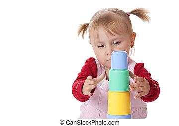 어린 소녀, 장난감을 가지고 노는 것