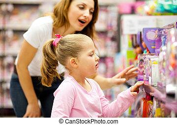 어머니와 딸, 쇼핑, 치고는, 장난감