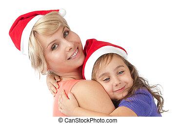 어머니와 딸, 함께, 에서, 크리스마스 모자