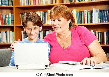 어머니, 도움, 아들, 공부하다