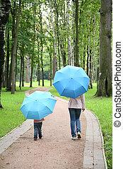 어머니, 와, 그만큼, 아이, 억압되어, 그만큼, 우산, 공원안에