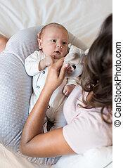 어머니, 와, 새로 태어난 아기