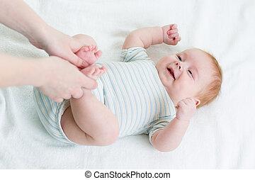 어머니, 함, 체조, 그녀, 아기, 유아
