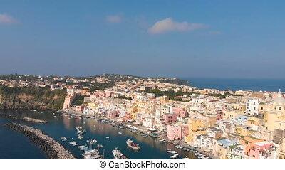 어부, 나폴리, 이탈리아, 공중 전망, 마을, procida, corriccella, 섬