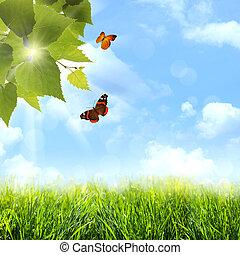 억압되어, 그만큼, 파랑, skies., 떼어내다, 봄, 와..., 여름, 배경