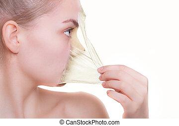 얼굴, 윤곽, 여자, 에서, 얼굴 껍질, 떨어져의, mask., peeling., 아름다움, 몸, 피부, care., 고립된