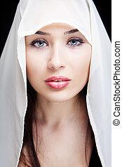 얼굴, 의, 음탕한, 여자, 와, 아름다운 눈