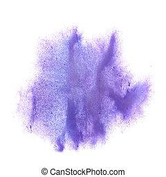 얼룩, 라일락, 튀김, 고립된, 손, 배경, 잉크, 백색, painte