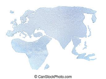 얼음, 세계 지도, -, 고립된, 백색 위에서