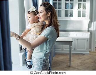 엄마와 아기, 몸을 나른하게 하는, 에서, a, 유행, 내부