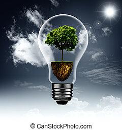 에너지, 내부., 떼어내다, eco, 배경, 치고는, 너의, 디자인