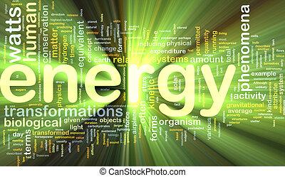 에너지, 물리학, 배경, 개념, 백열하는 것