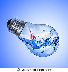 에너지, concept., 전구, 와, 물, 와..., 요트, 내부, 고립된, 백색 위에서