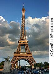 에펠 탑, 에, 일몰
