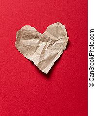 에 의하여 찢는 종이, 심장, 통하고 있는, a, 빨강 배경