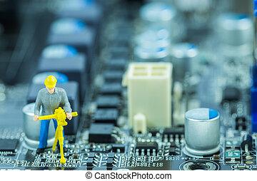 엔지니어, 수리하는 것, 회로, 어머니, board., 컴퓨터 수선, 개념
