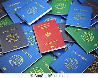 여권, 의, 독일, 통하고 있는, 그만큼, 더미, 의, 다른, passports., 이주, concept.