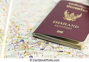 여권, 통하고 있는, 지도, 손 가까이에 있는, 여행할 것이다