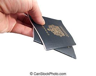 여권, 한 쌍, 잡아 당기는, canadian