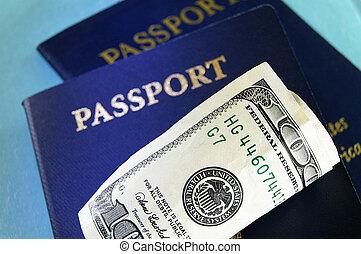 여권, u.s., 현금