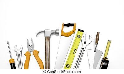여러 가지이다, 도구, 고립된, 백색 위에서, 배경