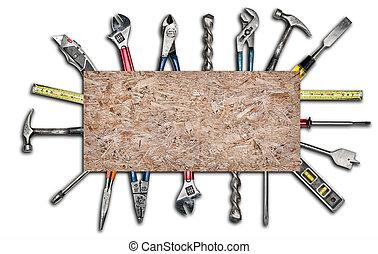 여러 가지이다, 사용된다, 도구, 백색 위에서, 배경