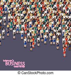 여류 실업가, 삽화, 동일 크기다, 벡터, community., 3차원