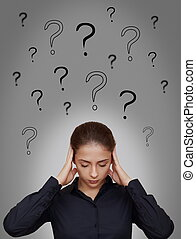 여류 실업가, 생각, 경질인, 와, 많은, 질문, 이상, 위에의머리, 회색, 배경