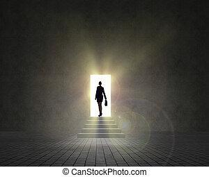 여류 실업가, 서 있는, 공간으로 가까이, 자형의 것, 열린 문