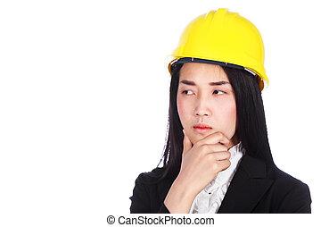 여류 실업가, 엔지니어, 생각, 고립된, 백색 위에서, 배경