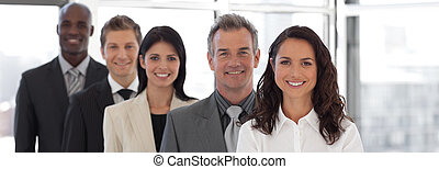여류 실업가, 지도, a, 비즈니스 팀