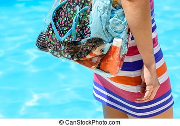 여름, 가방, 와..., 웅덩이