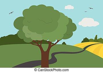 여름, -, 가을, 날고 있는 새, 하늘, 휴가, 들판, 일, 억압되어, 초원, 약, 다채로운, 삽화, 만화, 수풀, 구름, 밝다, 나무, 벡터, 잎, suitable, 또는, 길, 보이는 상태