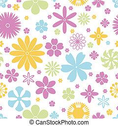여름, 꽃, 패턴, seamless, 봄