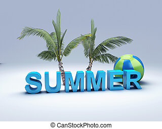 여름, 낱말, 삽화, 편지, 색채가 풍부한, 3차원