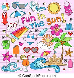 여름, 노트북, 휴가, doodles