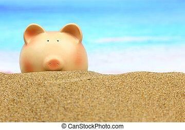 여름, 돼지 저금통, 바닷가에