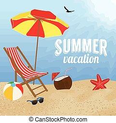 여름, 디자인, 휴가, 포스터