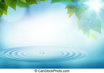 여름, 떼어내다, 배경, 환경, 디자인, 비, 너의