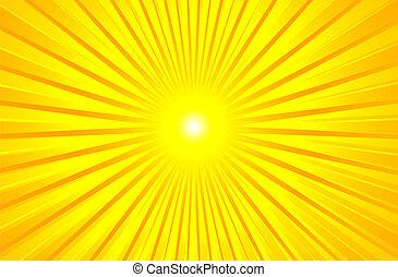 여름, 뜨거운, 빛나는, 태양