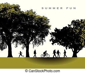 여름, 매우 기쁜, 공원, 장면, 시간